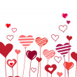 Background with growing hearts — Imagen vectorial