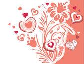 Planta estilizada con corazones — Vector de stock