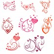Ornate design elements with hearts — Stock Vector