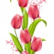 Vertical seamless pattern with tulips — 图库矢量图片