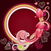 Ram med hjärtan och tulpaner — Stockvektor