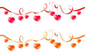 Two ribbons with hearts — Stock Vector