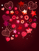 Contour hearts on dark red background — Stock Vector
