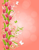 Pink background with tulips — Stock Vector