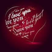 "Heart made of ""I love you"" phrase — Stock Vector"