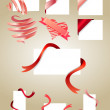 Blank white cards with red ribbons — Stock Vector