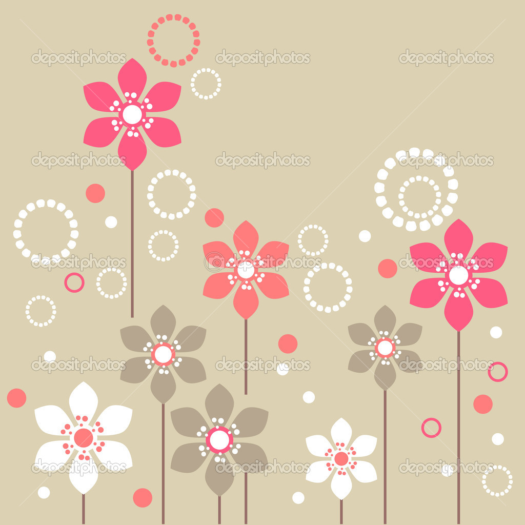 Stylized pink and white flowers on beige background — Stock Vector #4803196