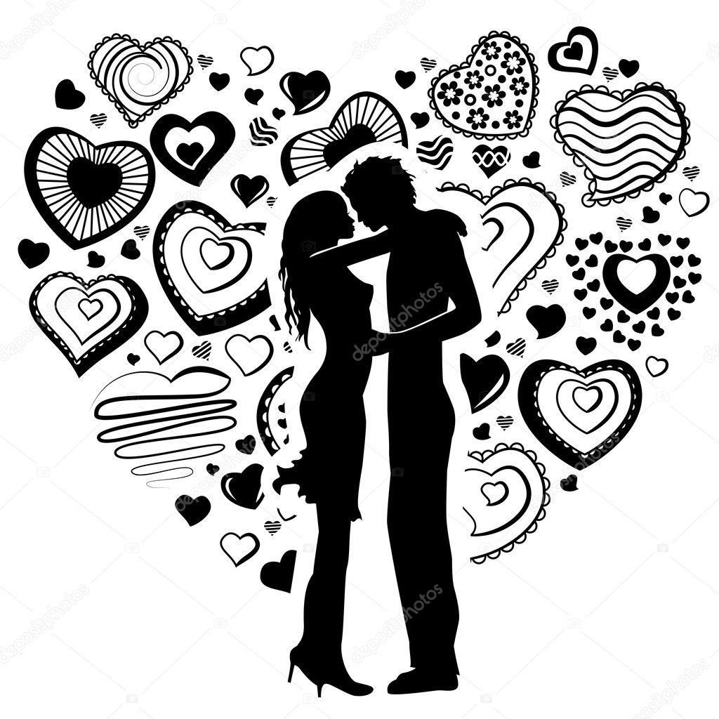 контурный рисунок влюбленной пары