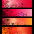 Banners, headers with floral elements - Stock Vector