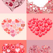Stock Vector: Set of different hearts