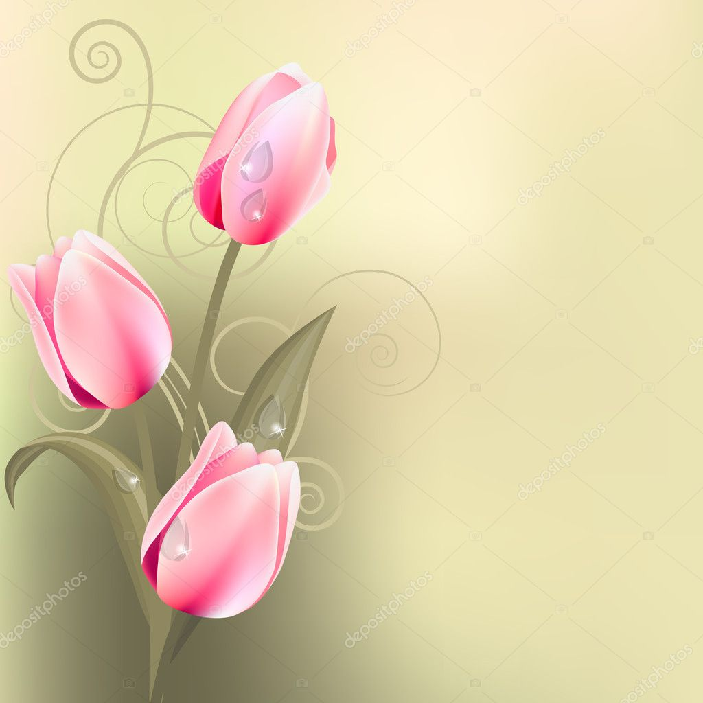 Light green background with bunch of pink tulips — Stock Vector #4884476