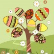 Royalty-Free Stock Vector Image: Landscape with easter tree