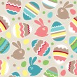 Seamless easter pattern with rabbits — Stock Vector