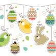 Stock Vector: Seamless easter border with rabbits