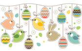 Seamless easter border with rabbits — Stock Vector