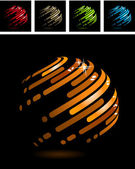 Abstract ball made of stripes — Stock Vector