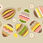 sem costura padrão horizontal de Páscoa com ovos — Vetorial Stock