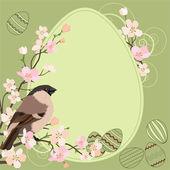 Wielkanoc kartkę z życzeniami z ptaków i jaj — Wektor stockowy