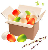 Box full of easter eggs — Stock Vector