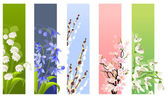 Collection of spring flowers — Stock Vector