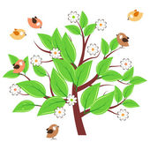 Stylized tree with green leaves — Stock Vector