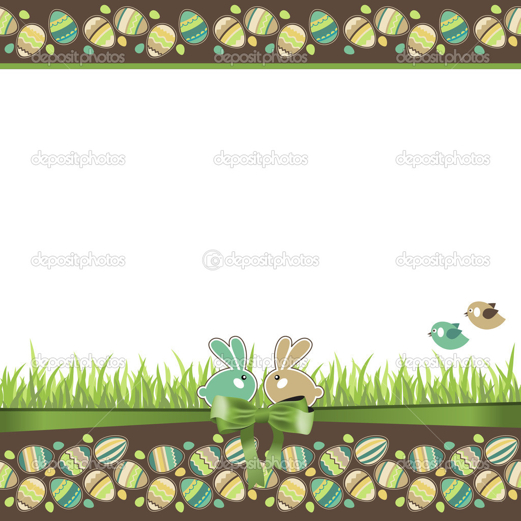 Easter greeting card with eggs, rabbits and grass — Stock Vector #5114674