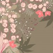 Floral background with contour flowers - Imagens vectoriais em stock