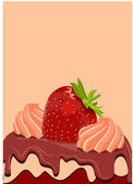 Jordgubbe på söt tårta — Stockvektor