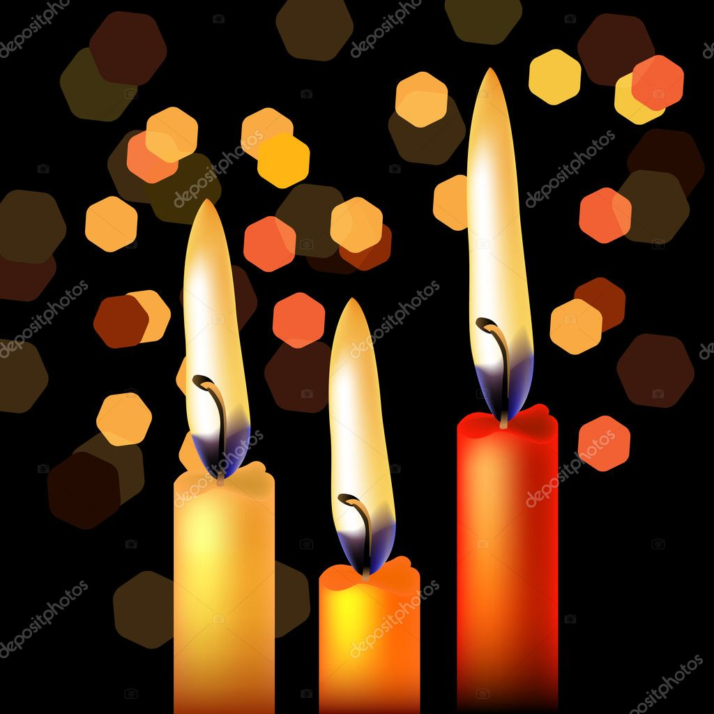 Three festive candles on night black background — Stock Vector #5171285