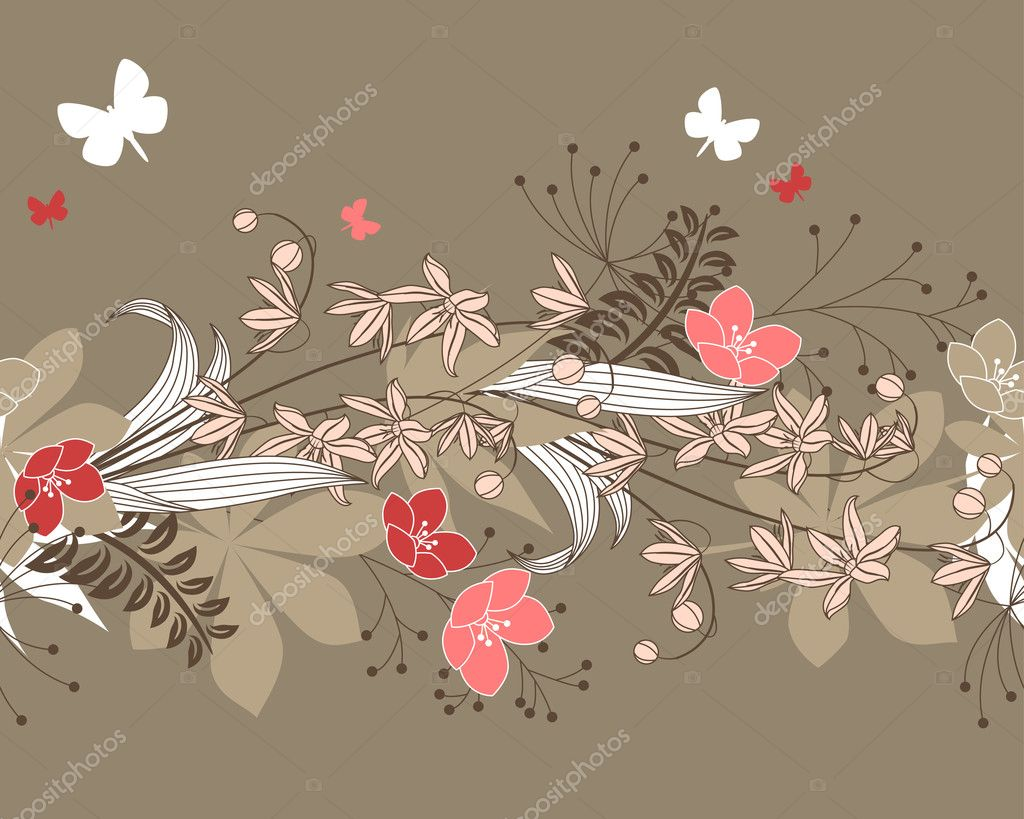 Seamless patten with forest flowers and plants — Stock Vector #5196260