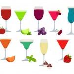 farklı parti içecekler kümesi — Stok Vektör