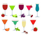 Set of different party drinks — Stock Vector