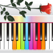 Piano with multicolored keys and red rose — Stock Vector #4519751