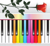 Piano with multicolored keys and red rose — Stock Vector
