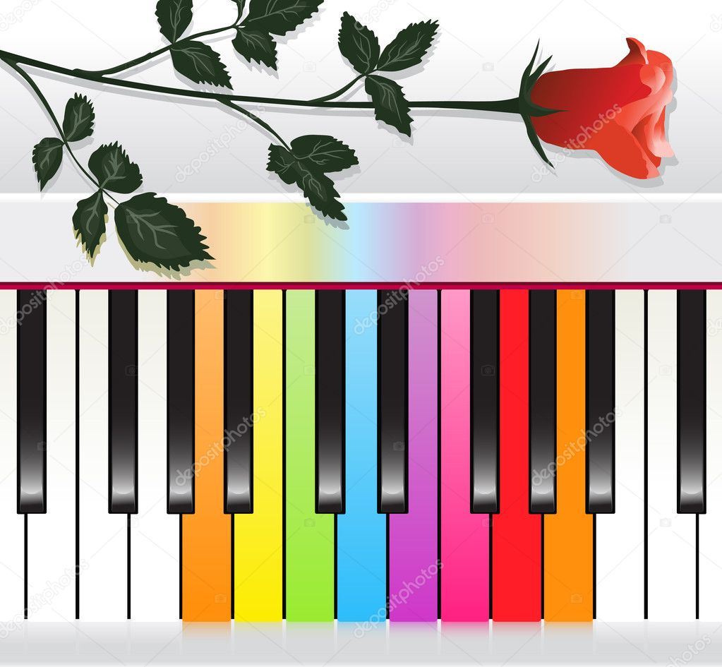 Piano with multicolored keys and red rose  Stock Vector #4519751