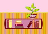 Bookshelf and flower — Stock Vector