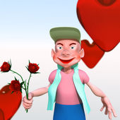 Cartoon character with flowers — Stock Photo