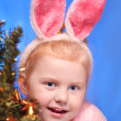 Smile girl wearing bunny ears on head — Stock Photo