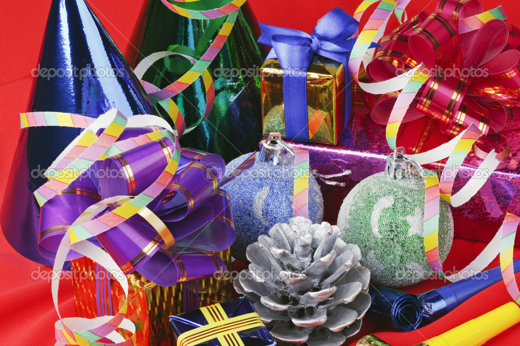 Christmas decorations from balloons and gifts  Stock Photo #3926067