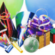 Christmas decoration of balloons and gifts — Stock Photo