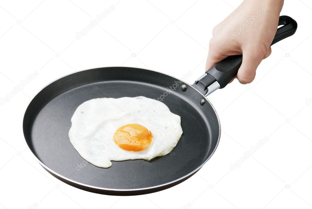 Female hand holding a pan full of scramble eggs on white background — Stock Photo #4005395