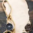 Compass on vintage paper background — Stock Photo