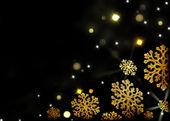 黒いクリスマス背景 - ゴールド雪片 — ストック写真