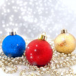 Sparkling Christmas decorations with a background from a bokeh and sparks — Stock Photo