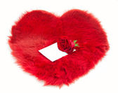 Red fur heart and note on it — Stock Photo