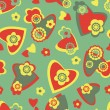 Seamless pattern with hearts and flowers — Stock Vector #3958393