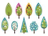 Süslü ağaçlar set — Stok Vektör