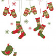 Royalty-Free Stock Imagen vectorial: Set with folk style mittens, socks and bird