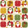 Christmas pattern with clock, santa, deer and snowman — Stock Vector