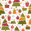 Seamless pattern with decorated trees and gifts — Stock Vector